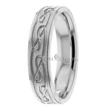 SOLID 10K WHITE GOLD WAVE WEDDING BANDS RINGS 5MM MENS WOMENS WEDDING BAND RING