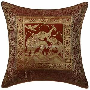 "Elephant Brocade Cushion Cover Indian Home Decor Pillow Case Cover Throw 16X16"""