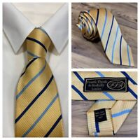 Frank Theak Roskilly London 100% Pure Silk Mens Gold Blue Striped Neck Tie - NEW