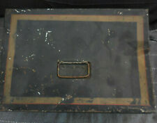 "Antique Black & Gold Toleware 13"" Metal Document Cash Box"