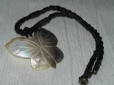 Estate Black Braided w Two Wood Beads & Carved Mother of Pearl Shell BUTTERFLY