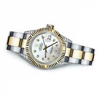 Women's Rolex 31mm Datejust Two Tone White MOP Mother of Pearl Dial with Diamond