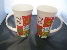"Set of 2 Large Holiday Christmas Mugs Coffee Hot Coco 5""H"