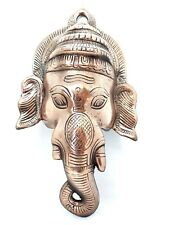 Ganesh Ganesha Elephant God Large Metal Wall Plaque Mask 12 inch Cast Diwali