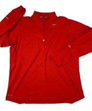 Nike Element Mens Running Shirt Red 1/4 Zip Dri-Fit Thumbhole Long Sleeves L