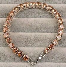 "86 Ct.t.w. SPARKLING CHAMPAGNE MORGANITE ROUND CUT TENNIS BRACELET ~ 7"" OR 8"""