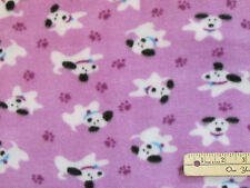 Puppy Dogs & Purple Paws on Purple Fleece Fabric by the Yard