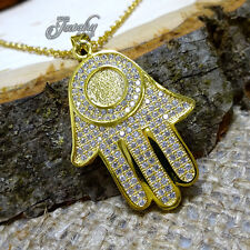 Crystal Open Palm Hamsa Pendant Gold Necklace