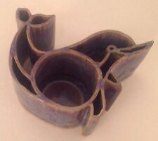 Bay Pottery Dolphin Candle Pot Blue Purple Drip Glaze Handcrafted in Va Usa