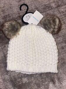 Primark Baby Cream Woollen Bear Pom Pom Hat Age 6-12 Months