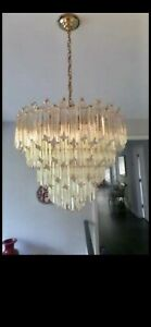 1970's VINTAGE CAMER MURANO GLASS VENINI CHANDELIER - 91 CRYSTALS