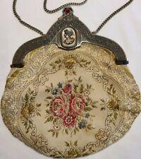 Vintage Floral Embroidered Carpet Bag Hinged Evening Purse Art Deco Flapper