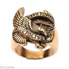 LIVE TO RIDE BRONZE GOLD BIKER  STAINLESS STEEL RING SIZE 8 9 10 11 12 13