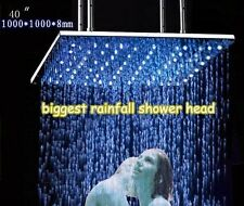 "New 40"" Brushed Stainless Steel Temperature Controlled LED Rainfall Shower Head"