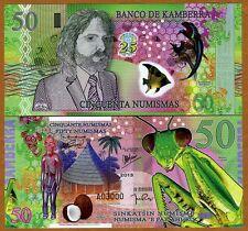 Kamberra, 50 Numismas, Polymer, 2013 (2014) Unc > Commemorative, Praying Mantis