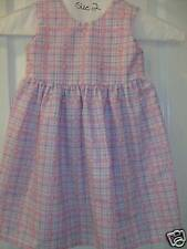 HANDCRAFTED LITTLE GIRL PINK PURPLE PLAID DRESS SIZE 2