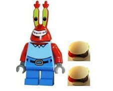 LEGO Rare Spongebob Squarepants Minifig Mr Krabs New with Food 2 Burgers
