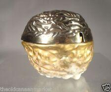 Antique English Porcelain Coalport Gilt Silverplate Walnut Bowl Repaired England