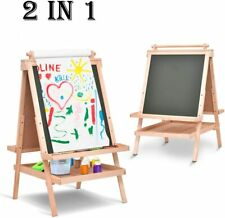 All In One Kid's Wooden Art Easel Double Side w/Paper Roll&Accessories Tray New