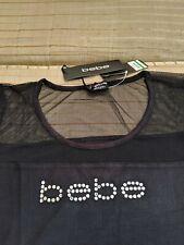BEBE WOMEN'S CRYSTALO LOGO BLACK XL XLarge STYLE#BKT0044 NWT New with Tags Mesh