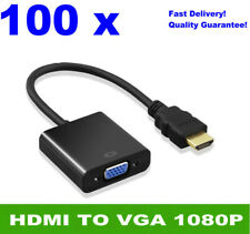 Wholesales! 100pcs HDMI Male to VGA Female Converter Adapter Full HD 1080P Black