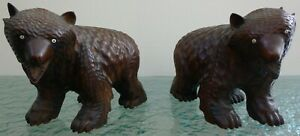 Pair of Victorian Black Forest Hand Carved Wooden Bears