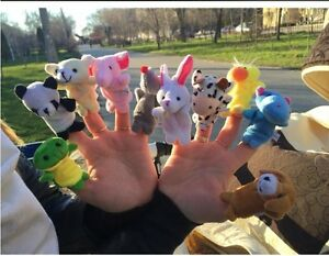 10 Pcs/lot Baby Plush Toys Cartoon Happy Family Fun Animal Finger Hand