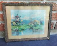 Ancien cadre en bois et plâtre 32 cm sur 26 Cm Vintage, Décoration