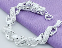 925 Sterling Silver Bracelet Women's Elegant Dragon Link Chain + GiftPkg D502B