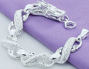 """925 Sterling Silver Bracelet Women's 7-1/2"""" Dragon Link Chain w GiftPg D502"""