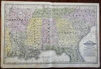 Southern USA Louisiana Georgia Tennessee Alabama Arkansas 1838-48 Mitchell map
