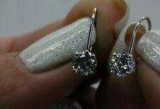 2CTW BRILLIANT ROUND CUT DROP  LEVERBACK EARRINGS REAL 14K WHITE GOLD