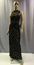 NEW SUE WONG $565 BLACK ILLUSION SWEETHEART EMBROIDERED EVENING GOWN DRESS SZ 12