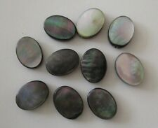 10 Black lip shell beads, oval