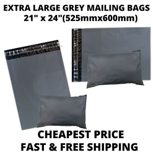 """21"""" x 24"""" GREY MAILING BAGS STRONG Parcel Postage Plastic Post Mailer SELF SEAL"""