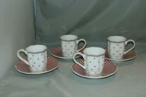 Set of 4 Grace's Teaware Josephine Red Espresso Cups & Saucers Dots & Stripes