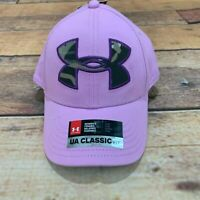 Under Armour Women's S/M Pink Hat Baseball Cap Hat Camo Logo Size SM/MD NEW NWT