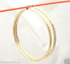 "2 3/4"" 3mm X 70mm Large Diamond Cut Hoop Earrings REAL 10K Yellow Gold"