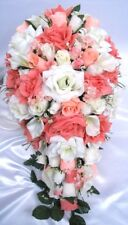 Wedding bouquets 21 piece package Bridal bouquet Silk flowers PEACH CALLA IVORY