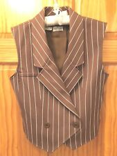 VALENTINO BOUTIQUE Cocoa Striped Lined Double Breasted Vest - Women's Size 8