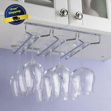 Wine Glass Rack Chrome Holder Hanger Under Cabinet Stemware Shelf Bar Kitchen US