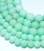 Jade mint-grün matt 4 - 12 mm, 1 Strang Perlen BACATUS Edelstein Kugeln #2011