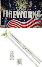 3x5 Advertising Fireworks Fire Cracker Flag White Pole Kit Set 3'x5'