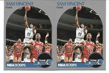 (2) 1990-91 NBA HOOPS #223 SAM VINCENT WITH MICHAEL JORDAN ON FRONT WEARING #12