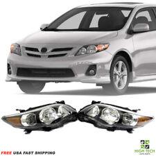 2011 2012 2013 Toyota Corolla Front Headlights Black Housing Clear Lens PR