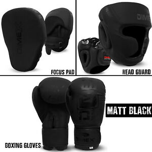 Dimex Boxing Gloves, Focus Pad, Head Guard, Training kickboxing Matt Black