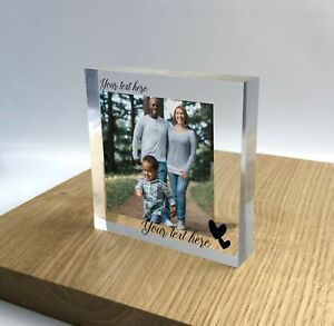Personalised Block Plaque Photo 3D Effect 2020 Picture Frame Wedding Family Gift