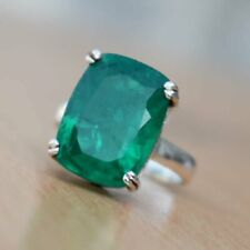 925 Sterling Silver Natural Colombian Birthstone Cushion Emerald Prong Ring