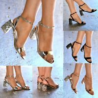 Ladies Jeweled Low Block Heel Ankle strap Sandals Metallic Open Toe Strappy size