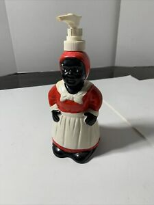 Vintage Porcelain/Ceramic Hand-Painted Red/Black/White Lady Soap Pump Dispenser